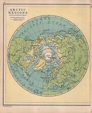 Carte de 1934 ~ régions arctiques avec explorations pôle nord groenland sibérie