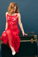 Vintage 70's Red Sheer Floral Lace Negligee; long chemise, nightie