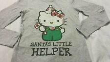 Girls Tee Shirts Sz L 10-12 Hello Kitty Santa's Little Helper Gray Kids