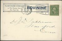 Jan. 12, 1916 Bovinine Co food tonic ad postcard NYC to Stamford CT Scott 452