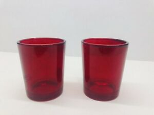 "Set Of 2 Red Glass Votive Holders 2.75"" Tall"