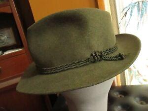 Lembert Green Wool Felt Bavarian Oktoberfest Tyrol German Fedora Hat Loden 6 3/4