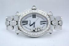 CHOPARD HAPPY SPORT OVAL STAINLESS DIAMOND ENCRUSTED WATCH REF:278418-3002