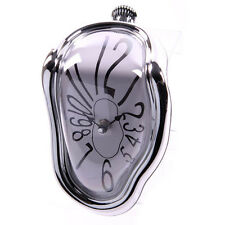 NEW SALVADOR DALI STYLE MELTING CLOCK WITH SILVER FRAME SIT ON SHELF COLLECTABLE