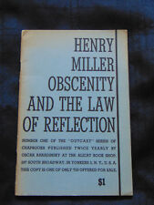Obscenity and the Law of Reflection-Henry Miller-Ltd Ed 1 of 750 Alicat 1945