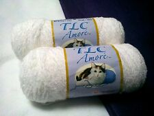 NEW DISCONTINUED Red Heart TLC AMORE Yarn 2 - 6 oz Skeins Same Dye Lot WHITE