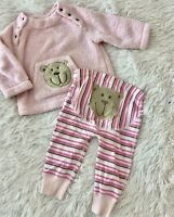 Hanna Andersson Plush Fleece Outfit Leggings + Top Baby Girls 70cm 6-12 Months