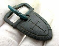 MEDIEVAL BRONZE BELT BUCKLE W/ CROSS -  HISTORIC ARTIFACT LOVELY RELIGIOUS P645