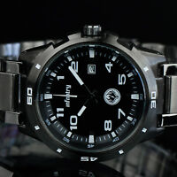 INFANTRY Mens Analog Wrist Watch Luxury Sport Army Black Gray Stainless Steel