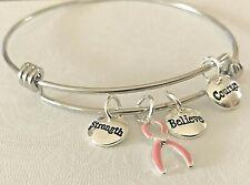 Pink Ribbon Bangle Bracelet Breast Cancer Awareness Believe Courage Strength