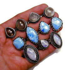 Lot Natural MOONSTONE RUTILE & LARIMAR Gemstone 925 Sterling Solid Silver Rings