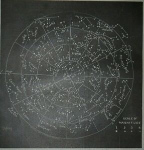 Vintage 1887 Atlas Map / Chart ~ THE CONSTELLATIONS ~ Old & Authentic ~ Free S&H