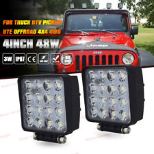 "2x 48W LED Work Light Pods FLOOD Fog Cube Reverse Offroad Truck Jeep 4WD ATV 4"""