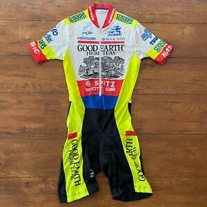 Aussie Mens Medium Cycling Skinsuit Vintage Speedsuit Racesuit M Neon Yellow