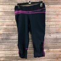 Lucy Women's Navy Blue & Purple Cropped Athletic Leggings Size Medium