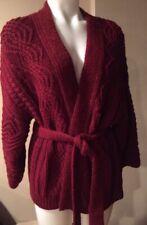 Isabel Marant Maroon SZ 34/2 Open Cable Knit Cardigan Wrap Sweater w Belt # 2013