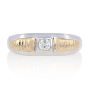 NEW .20ct Round Brilliant Diamond Men's Ring Sterling Silver & 10k Yellow Gold