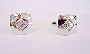 * STAINLESS STEEL SQUARE MENS CUFFLINKS WITH RHINESTONES                       Z