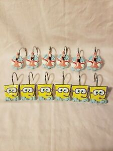 SpongeBob Squarepants & Patrick 12 Piece Shower Curtain Hooks Nickelodeon FS EUC