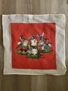 Disney? NEEDLEPOINT BUNNY RABBITS Thumper? Sew Into pillow or Wall Hanging