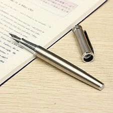 Vintage Luxury Men's Stainless Steel Metal Silver Medium Nib Fountain Pen Gift