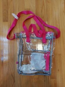 Eastsport 100% Clear Stadium Tote with Front Easy Access Pocket, Pink NFL
