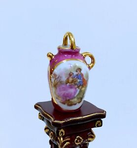 Limoges  Dollhouse Miniature Hand-Painted  Vase With Handle