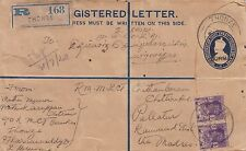 BURMA : 1938 Postal Stationery Registered Envelope  H&G C1  used-THONZE