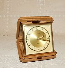 VINTAGE BANCOR TRAVEL ALARM CLOCK LEATHER CASE~REPAIR~PARTS~WILL RUN, BUT STOPS