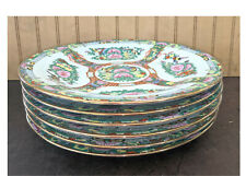 "6 Plates Set Hand Painted Rose Medallion Porcelain Plate Jar 10""w"