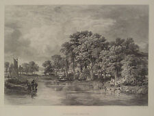 Postwick Grove on River Yare Norwich England Antique Steel Engraving 1887