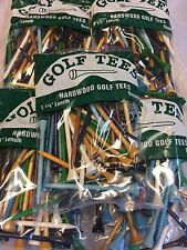 "250 Professional Shiny Mix 3 1/4"" Hardwood Golf Tees Free Shipping"