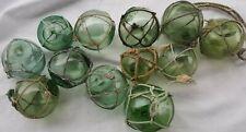"Japanese Glass Fishing Floats 2"" Lot-12 Sea Green Netted Tiki Antiques Set B"