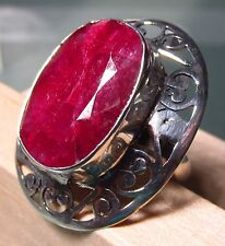 925 silver chunky cut ruby stone ring UK S½-¾/ US 9.5-9.75
