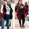 Plus Size Women Plaid Check Jacket Coat Sleeveless Winter Warm Vest Waistcoat US