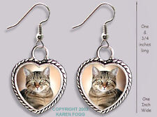 TABBY SHORTHAIR Pretty Face Cat -  HEART EARRINGS Ornate Tibetan Silver