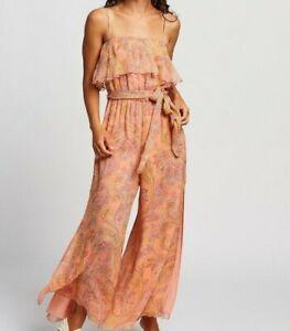 Tigerlily Sisandia Silk Jumpsuit Size AU8 pink T392401