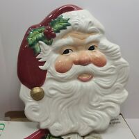 "Fitz & Floyd Christmas Holiday Santa Canape Plate 8"" x 9 1/2"" New Box Hangable"