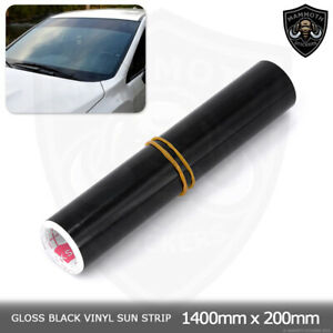 "Gloss Black Sun Strip Universal Car Van Windscreen Sunstrip 1400mm x 200mm 8"""