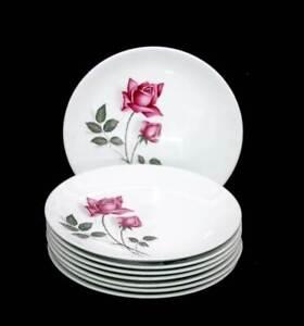 Vintage Johnson Bros Australia set of 8 pink roses dinner plates mid century