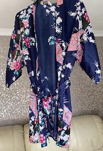 Primark Womens Short Satin Floral Navy Kimono Robe With Tie - Size S/M