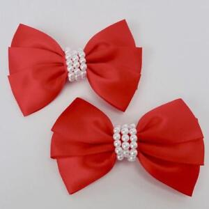 """Girls Set of 2 Red Satin Hair Bow Clips 3"""" Long"""