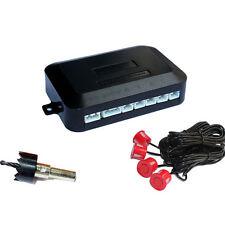4 Parking Sensors Car Reverse Reversing Backup Radar Parking Kit Sound Alert Red