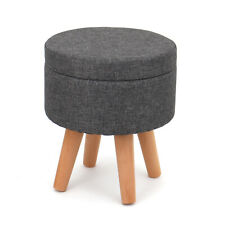 Roki Round Storage Footstool Footrest Living Room with Lid Cover Wooden Legs