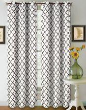 1 SET 2 TONE GEOMETRIC LINED BLACKOUT GROMMET WINDOW CURTAIN DRAPE MODERN DESIGN