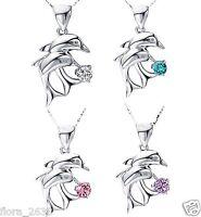 4 couleurs. Collier, pendentif dauphins rose, bleu, violet bijoux fantaisie neuf