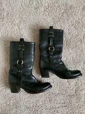 """Frye Women's 8.5 Jane Black Leather Harness Motorcycle Boots 2.5"""" Heels 77461"""