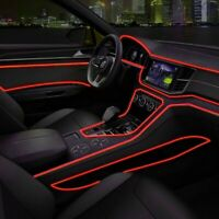 Red Car LED EL Wire Light Strip Interior Atmosphere Glow Neon Lamp Decor Access