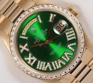 Rolex President 18238 Day Date 18k-Green Roman Diamond Dial-Diamond Bezel 36mm