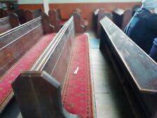 Vintage Church Pew / Bench seat upholstered solid teak/oak sturdy